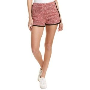 NWT MAJE Tweed Shorts In Red with Black Contour